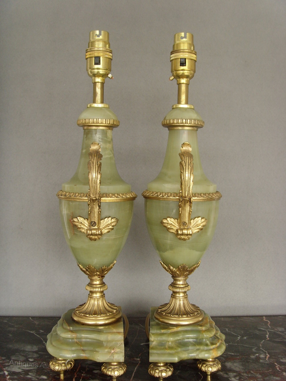 Antiques atlas pair of green onyx and ormolu table lamps pair of green onyx and ormolu table lamps antique lighting table lamps mozeypictures Images
