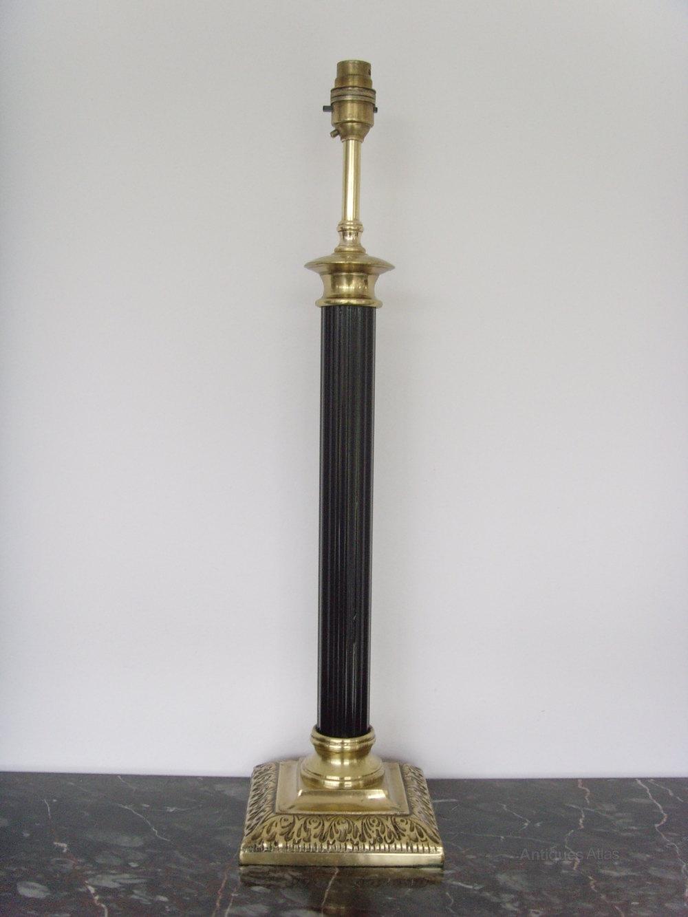 Fabulous Tall Brass Doric Column Table Lamp