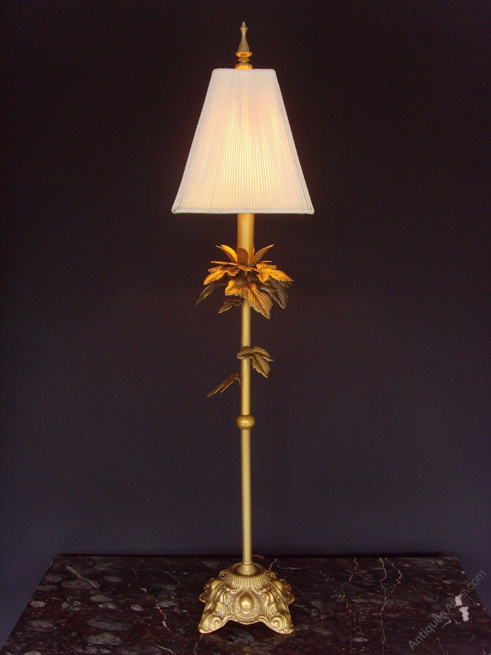 Antiques Atlas Tall Elegant Gilt Metal Table Lamp And Shade