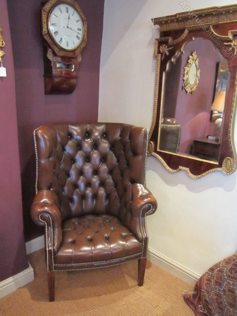 Superb 1920s Leather Barrel Back Porters Chair ...