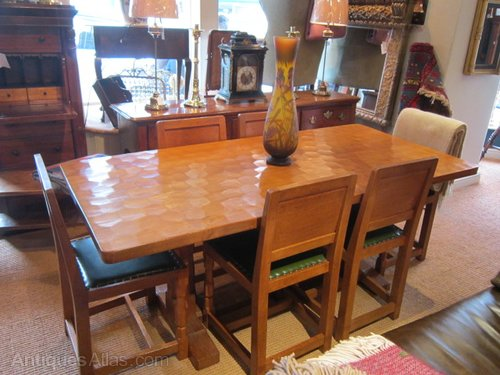Mouseman Dining Table Chairs, Antique Dining Room Furniture 1950