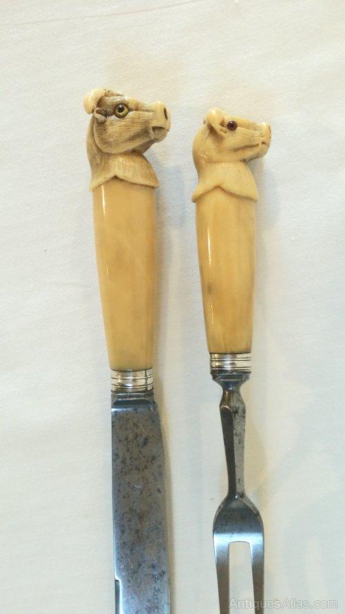 Antiques Atlas Carving Knife And Fork Carved Bone Handles