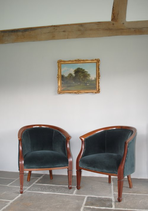 Pair of Antique Edwardian Tub Chairs, Armchairs - Pair Of Antique Edwardian Tub Chairs, Armchairs - Antiques Atlas