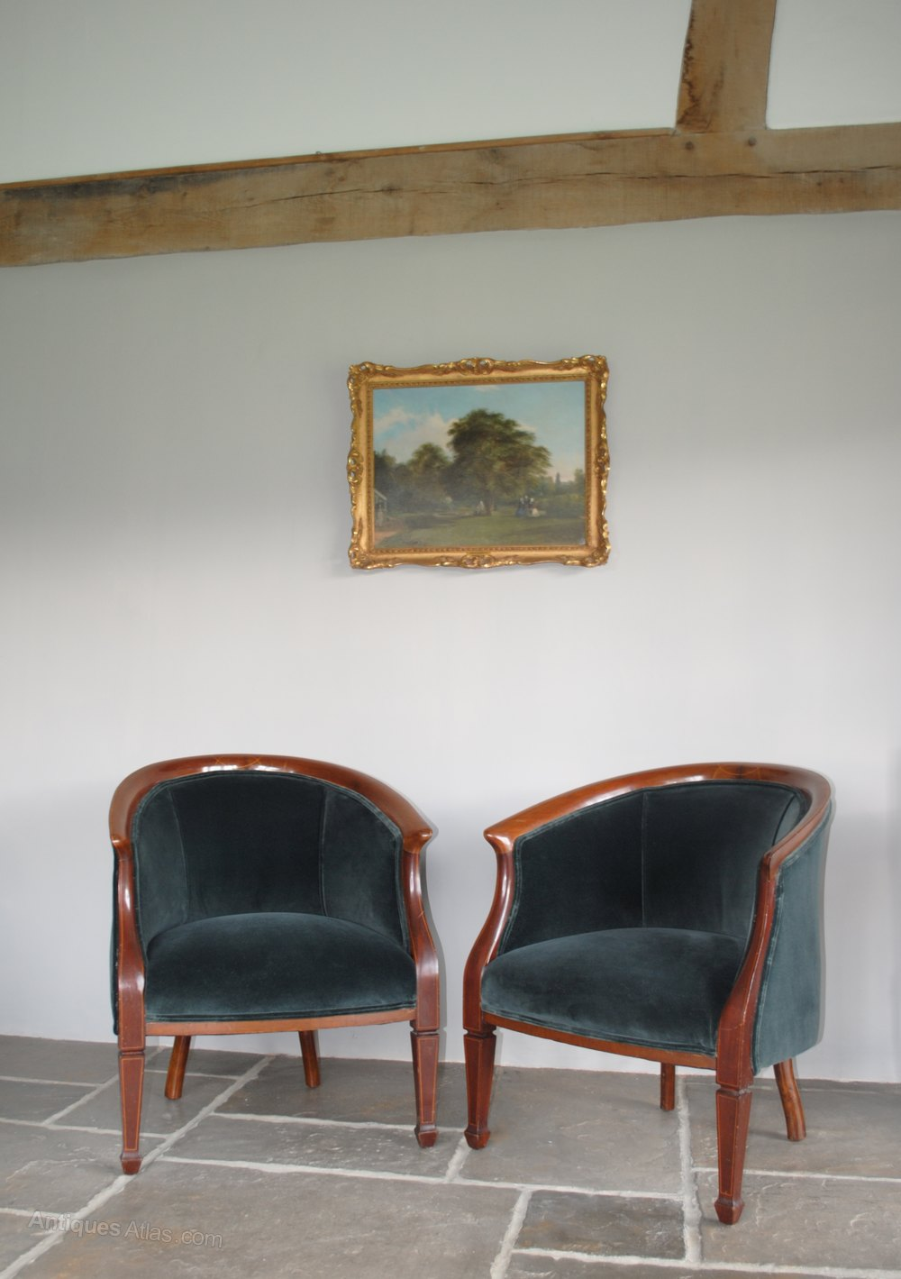Pair of Antique Edwardian Tub Chairs, ... - Pair Of Antique Edwardian Tub Chairs, Armchairs - Antiques Atlas