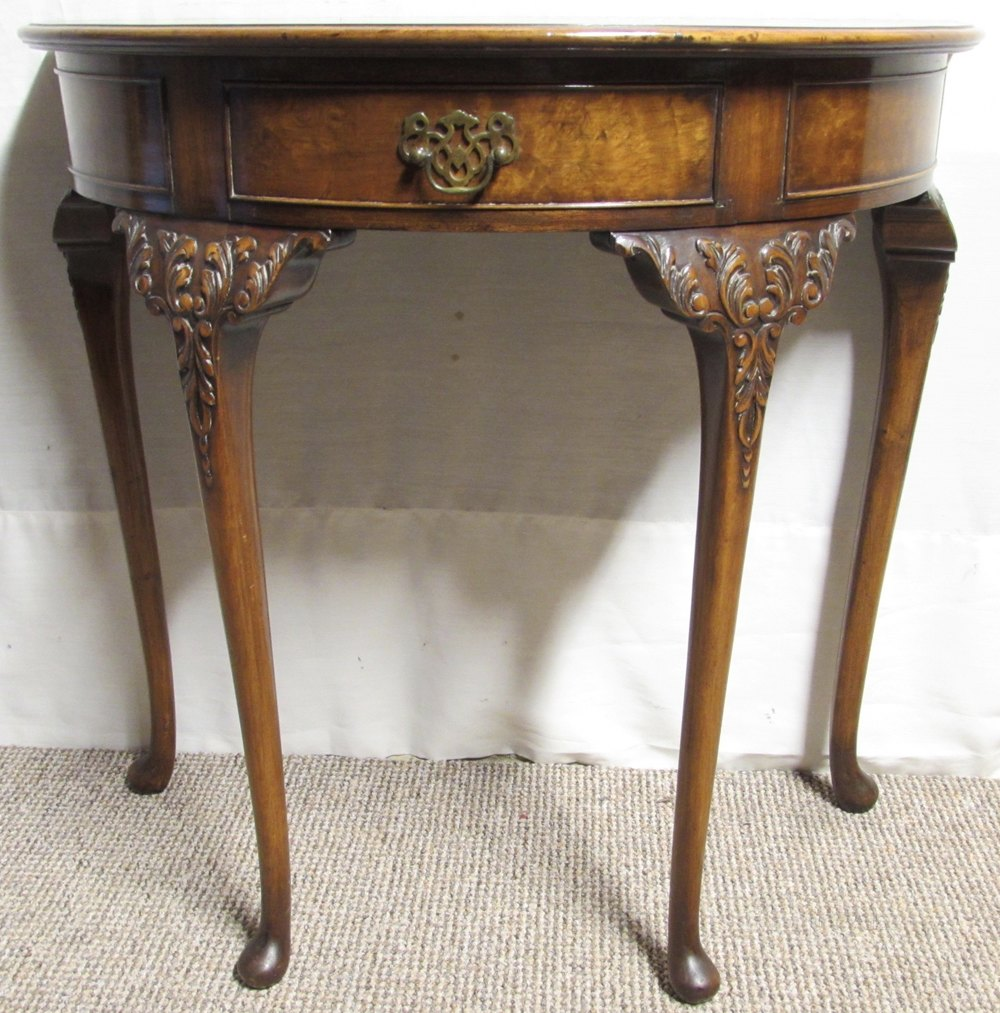 Superb Quality Half Moon Burr Walnut Table Antique Demi Lune Tables
