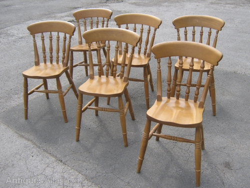 A Set Of 6 Pine Kitchen Chairs ... - Antiques Atlas - A Set Of 6 Pine Kitchen Chairs
