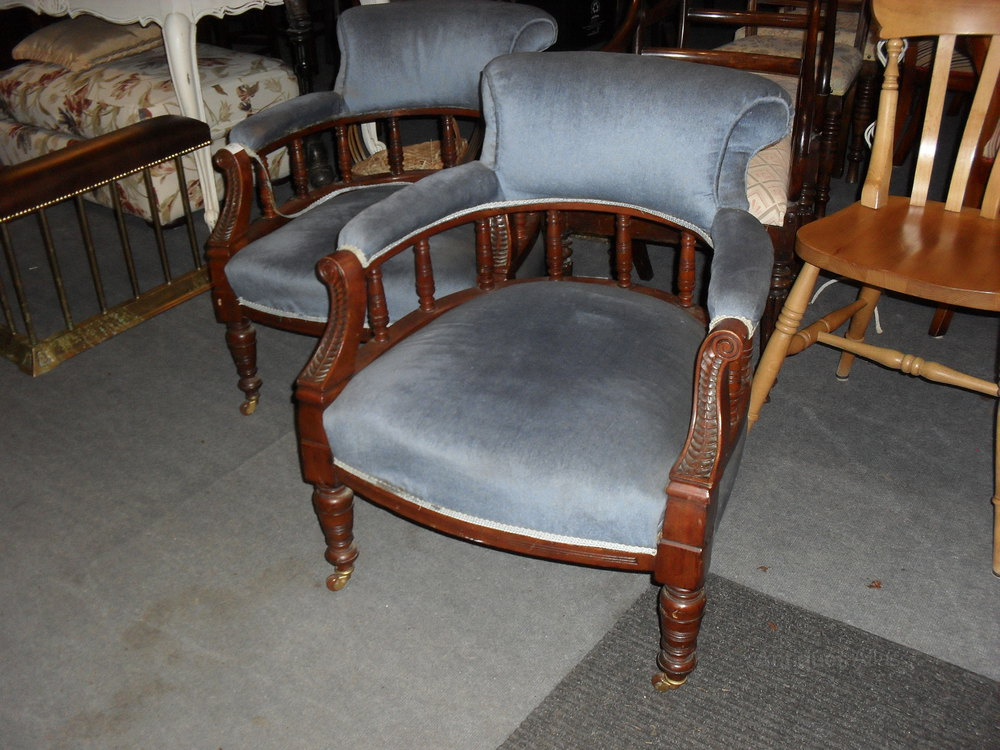 Pair Of Victorian Tub Chairs - Antiques Atlas