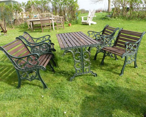 Cast Iron Garden Table U0026 4 Chairs