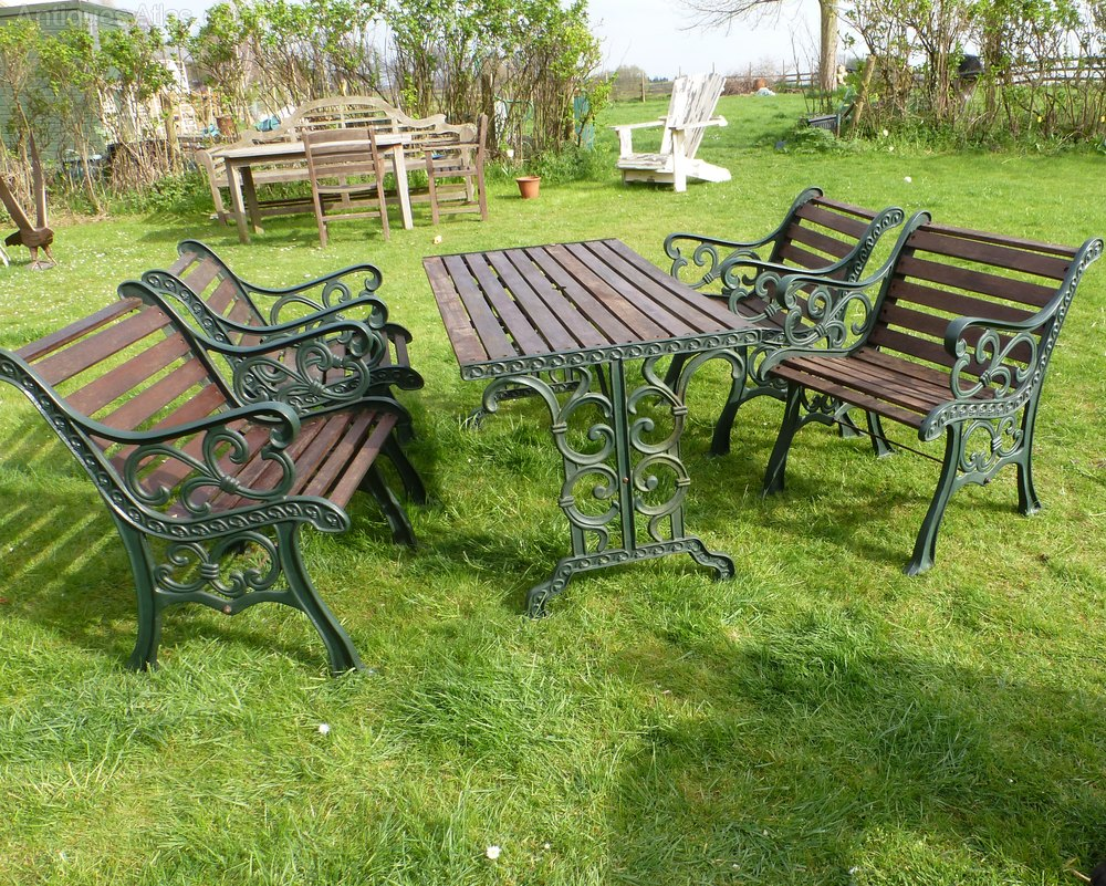 Cast Iron Garden Table U0026 4 Chairs ... Part 92