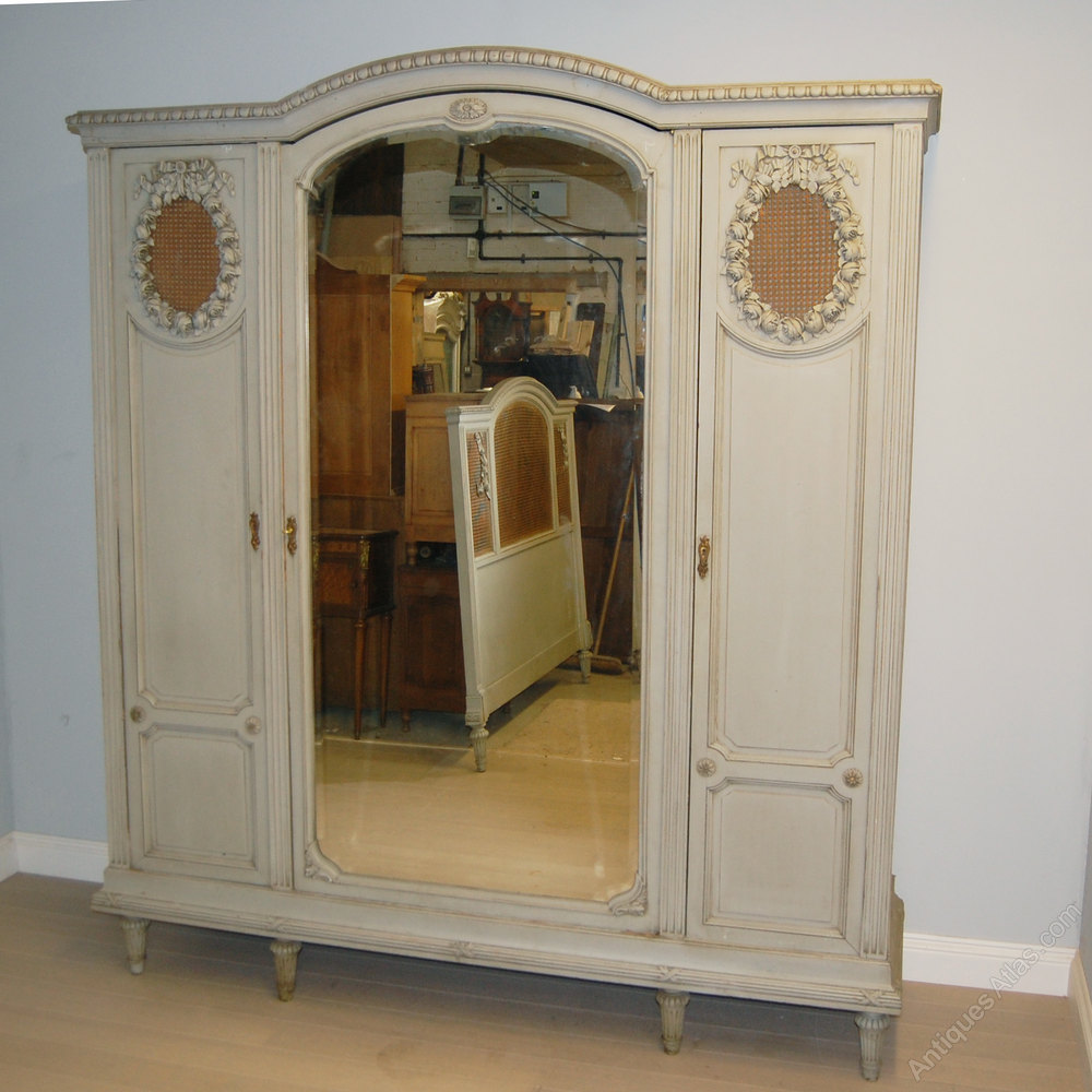 French 3 Door Painted Armoire Wardrobe Antiques Atlas