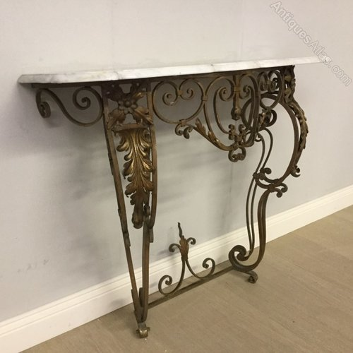 Photos French Marble Top Wrought Iron Console Table Antique