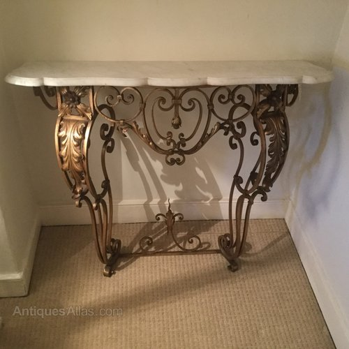 French Marble Top Wrought Iron Console Table