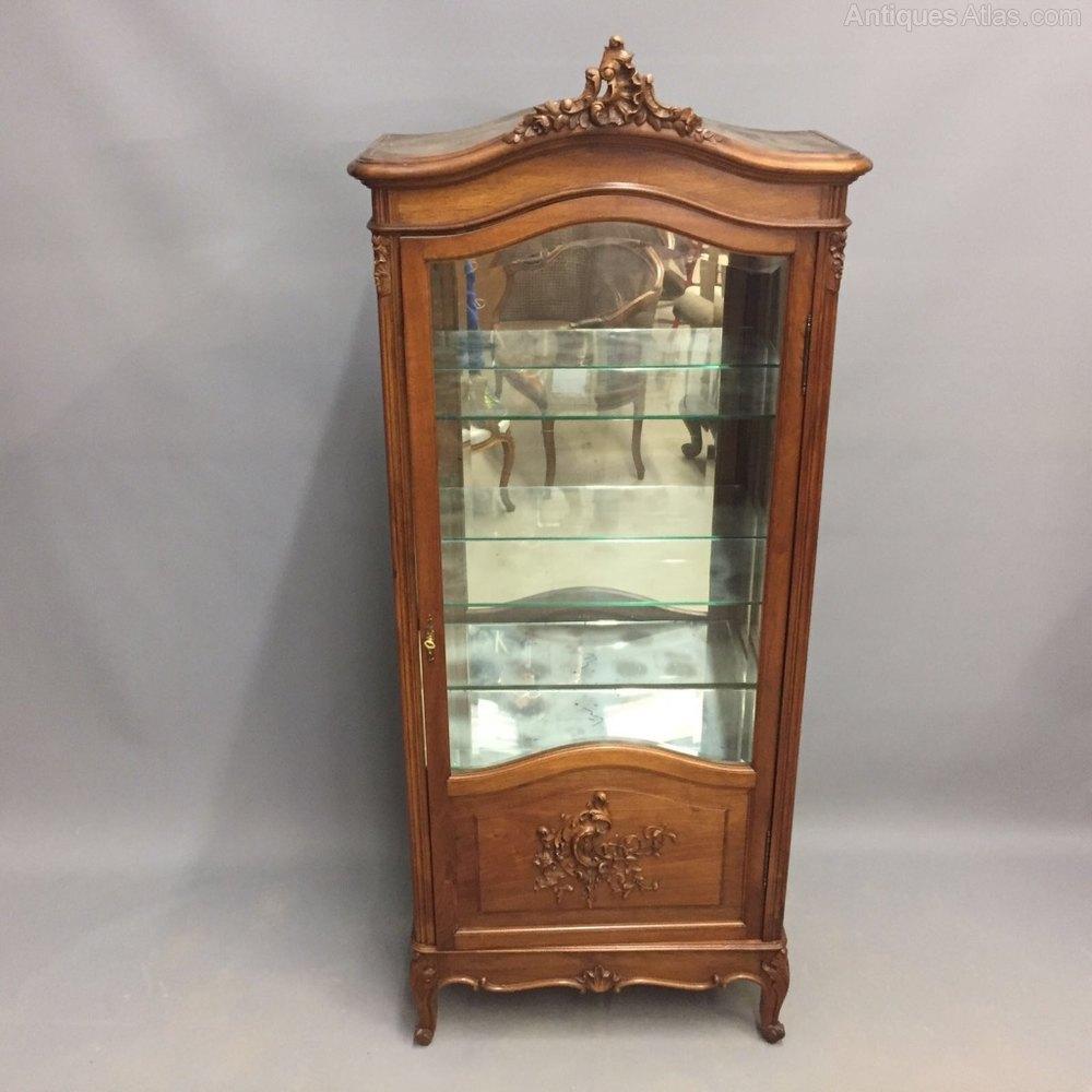 French Walnut Vitrine Display Cabinet Antique Vitrines ... - French Walnut Vitrine Display Cabinet - Antiques Atlas
