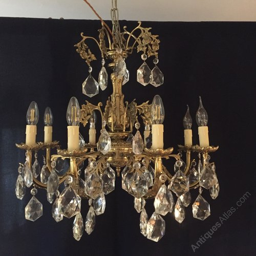Chandeliers, Sconces & Lighting Fixtures Architectural & Garden Antique Brass And Glass Chandelier