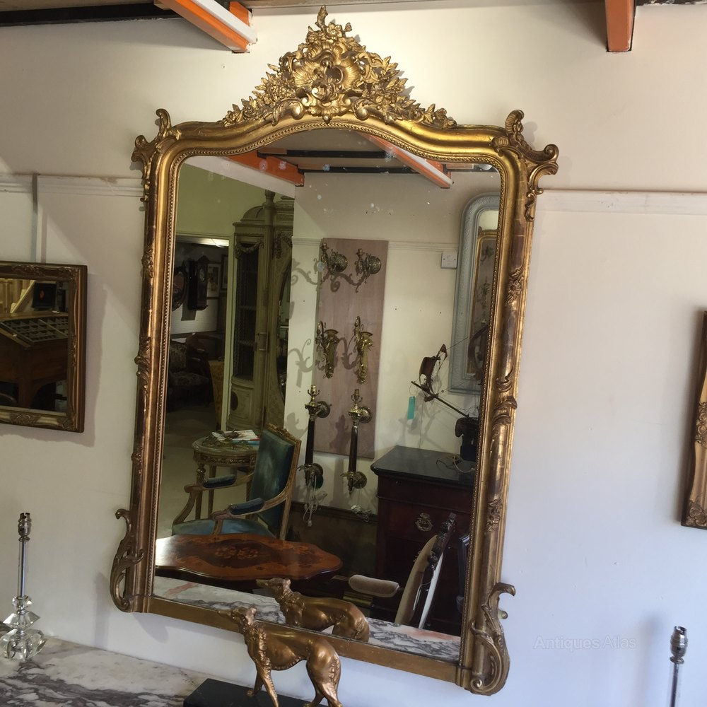 Large French Antique Louis Xv Style Gilt Mirror