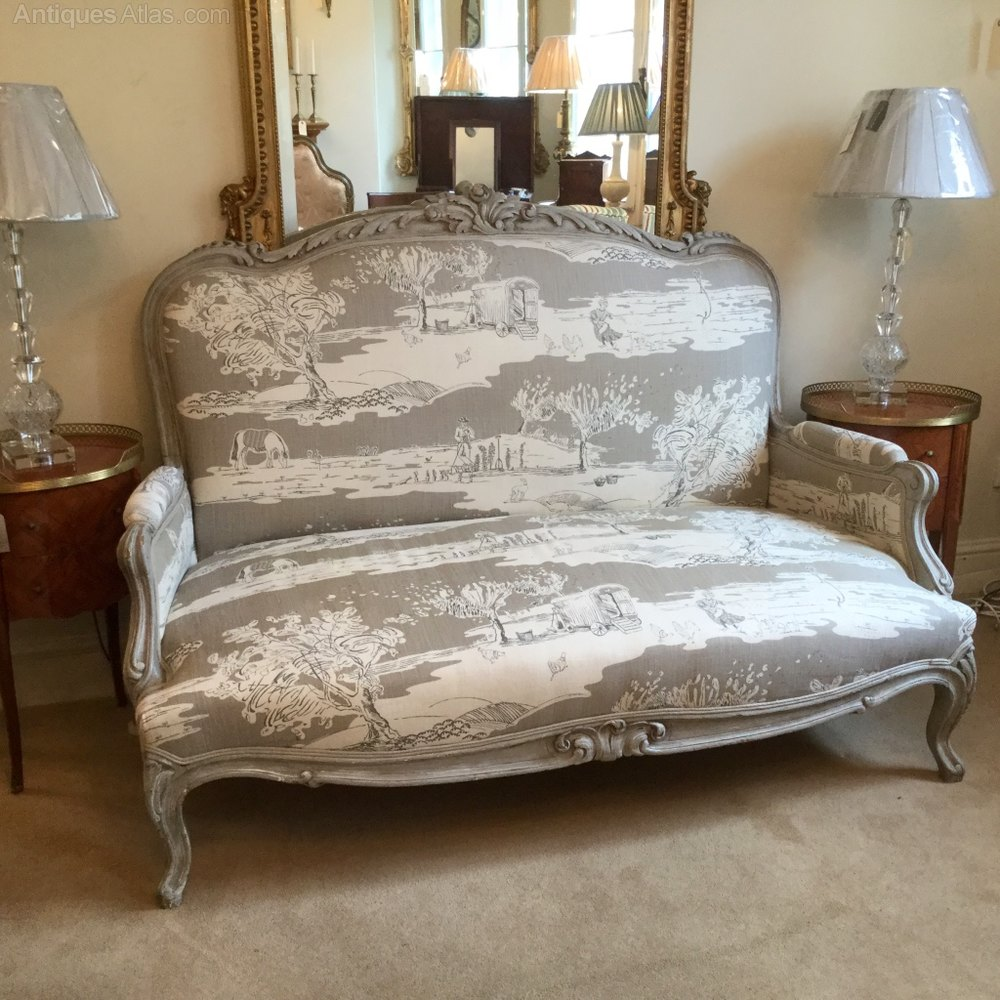 Large French Louis Xv Style Painted Sofa ...