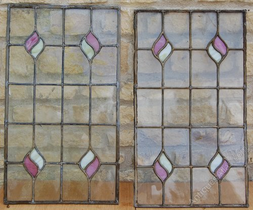 Pair Victorian Stained Glass Window Panels, Victorian Stained Glass Window Panels
