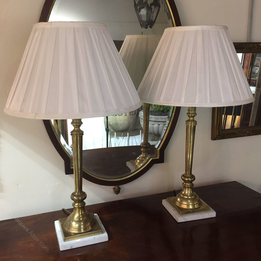 Fabulous Pair of Brass and Marble Table Lamps