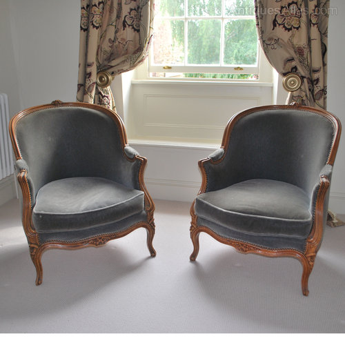 Pair of French antique tub chairs ... - Pair Of French Antique Tub Chairs - Antiques Atlas