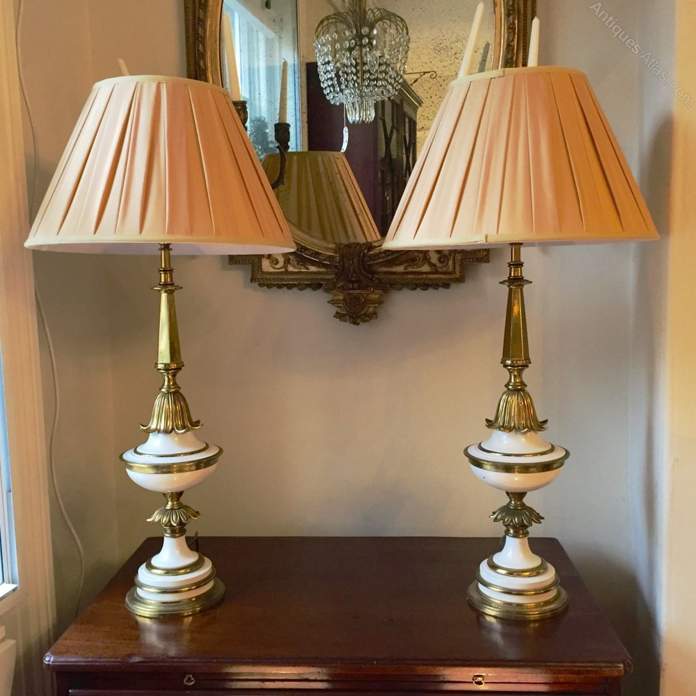 Pair of stiffel lamps in paint and brass