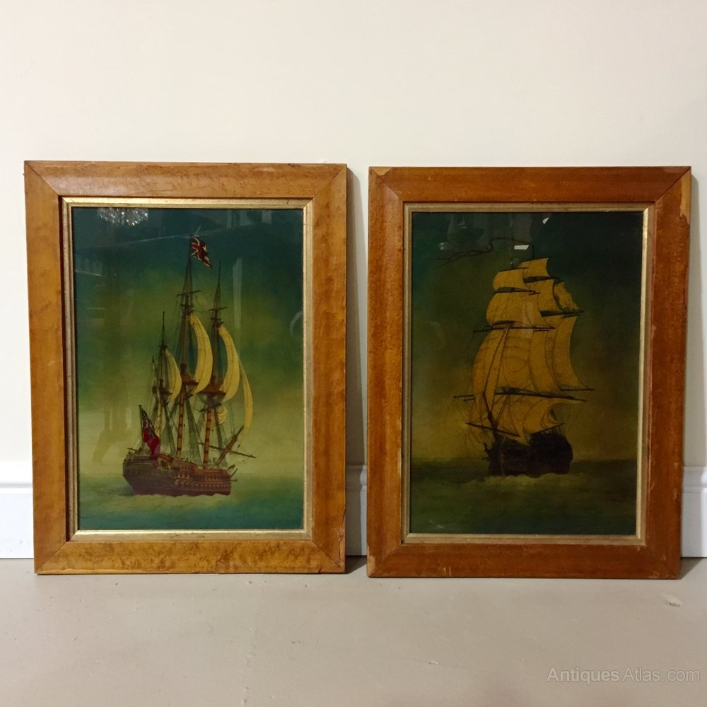 Antiques Atlas Pair Of C19th Reverse Glass Ship Paintings