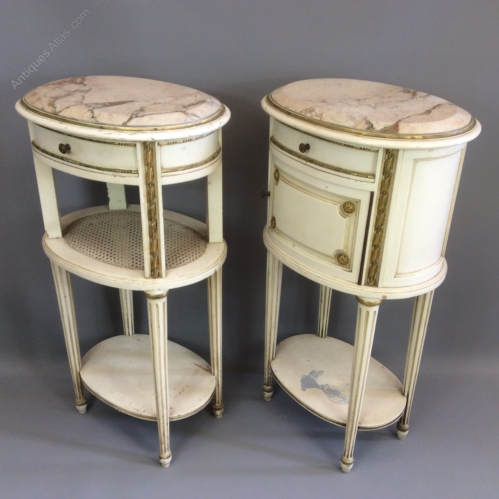 Rare Pair Of French Oval Painted Bedside Tables