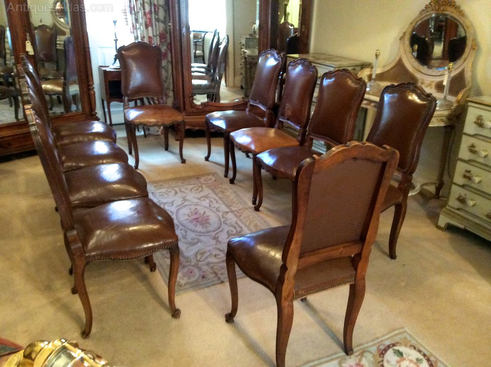 Set Of 10 Antique French Leather Dining Chairs Antiques