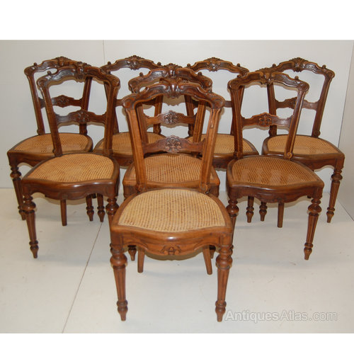 Set of 8 French dining chairs with cane seats Set of 8 Antique ... - Set Of 8 French Dining Chairs With Cane Seats - Antiques Atlas