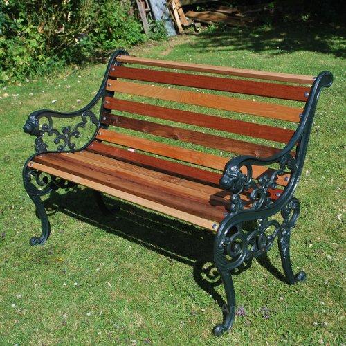 Small Cast Iron Garden Bench Vintage Furniture