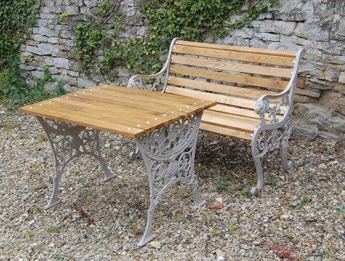 Victorian Ornate Cast Iron Garden Seat, Cast Iron Garden Furniture