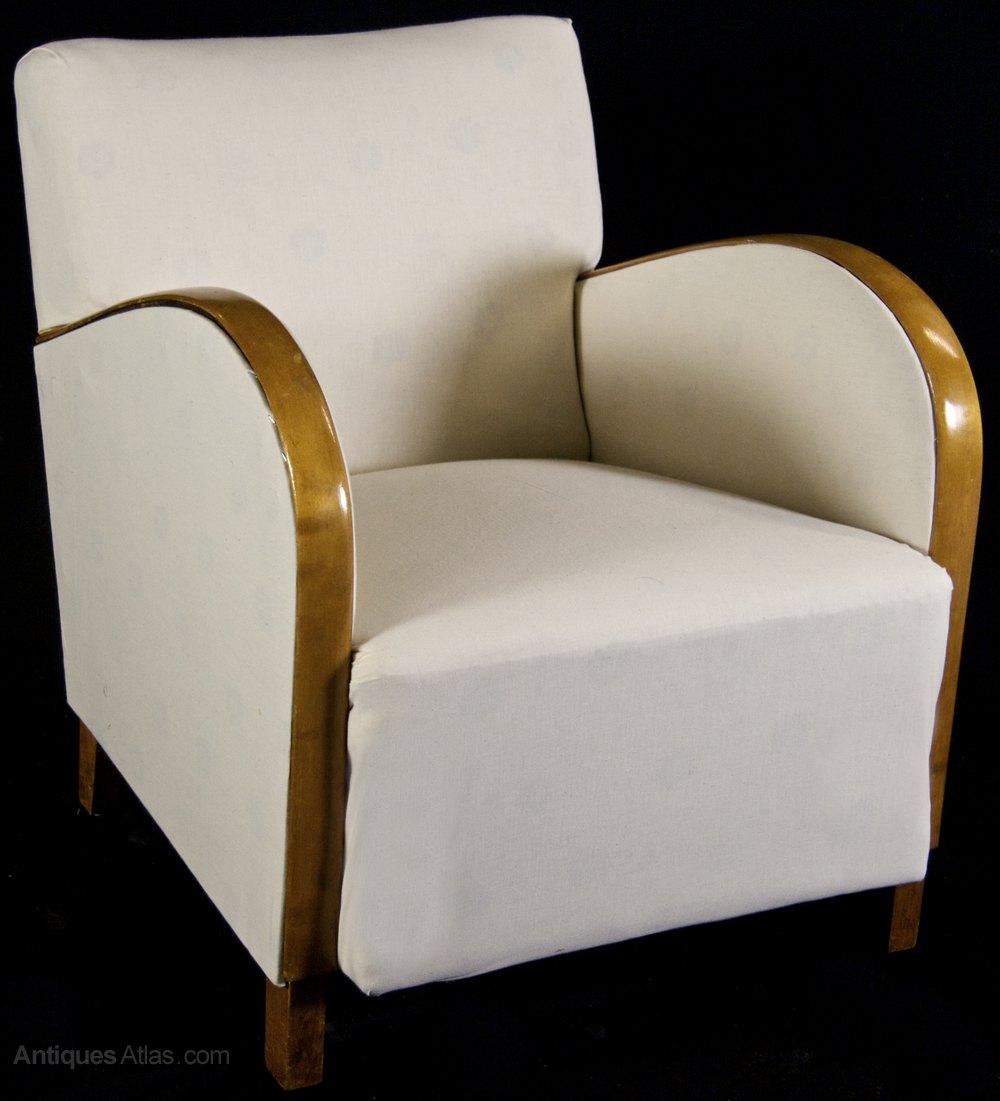 Genial Golden Birch Art Deco Armchairs