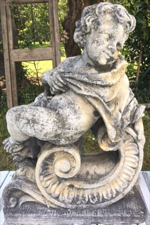 Vintage French Cherub Stone Garden Statue, Cherub Garden Statues Australia