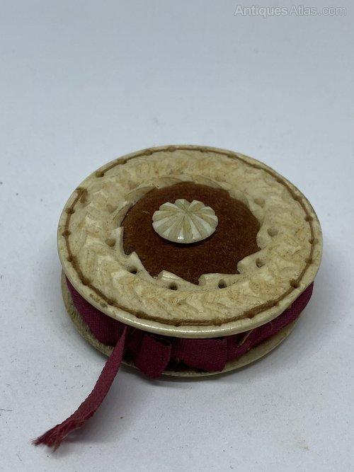 Antiques Atlas Antique Carved Bone Disc Form Pin Cushion