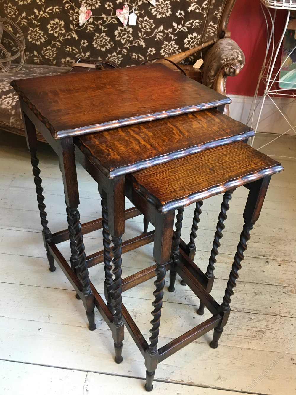 English Oak Barley Twist Nesting Tables Antique Nest Of Tables ...