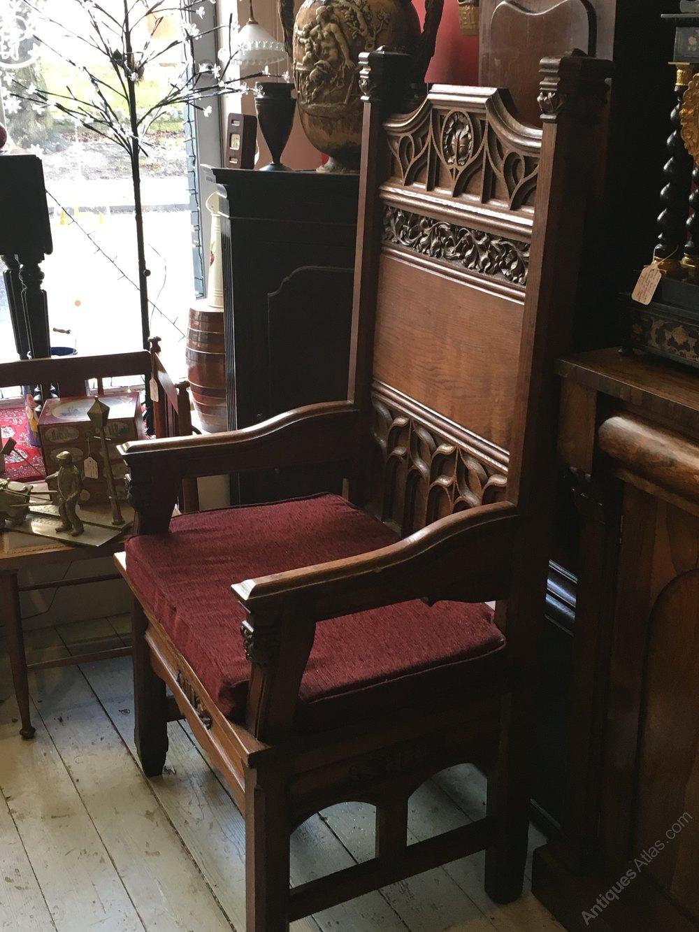 Oak Bishops Chair Antique Chapel Chairs ...