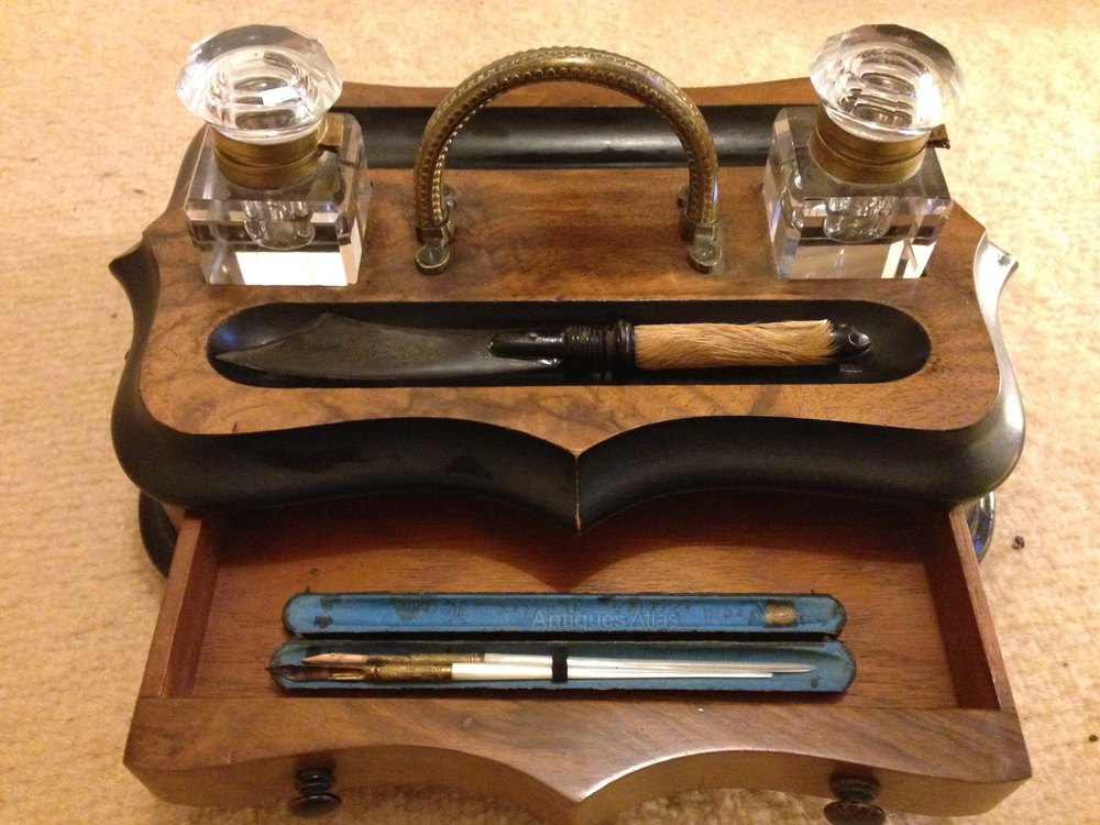 Wooden Desktop Writing Set Antique Desk Sets ... - Antiques Atlas - Wooden Desktop Writing Set
