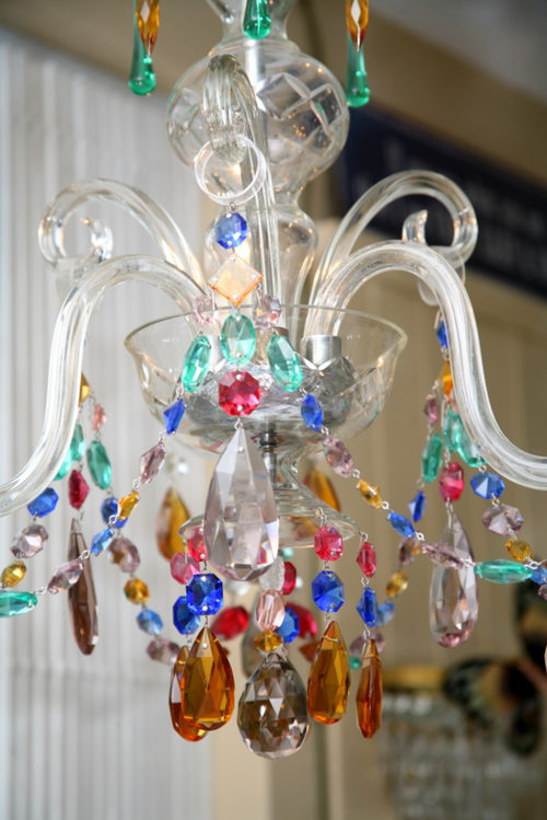 1930s 3 Arm Coloured Glass Chandelier Antique Chandeliers