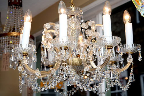 Pair Of 8 Arm Marie Therese Chandeliers
