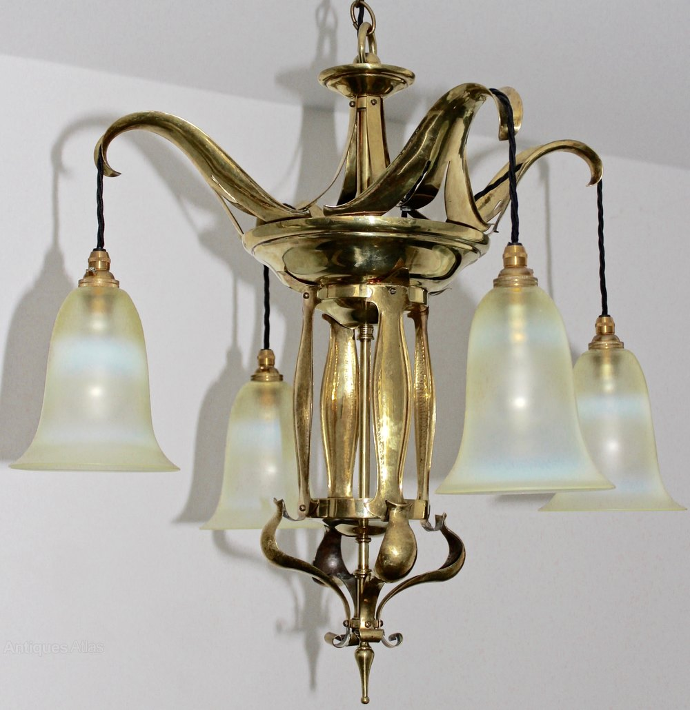 Antiques Atlas Arts And Crafts Benson Style Brass Chandelier