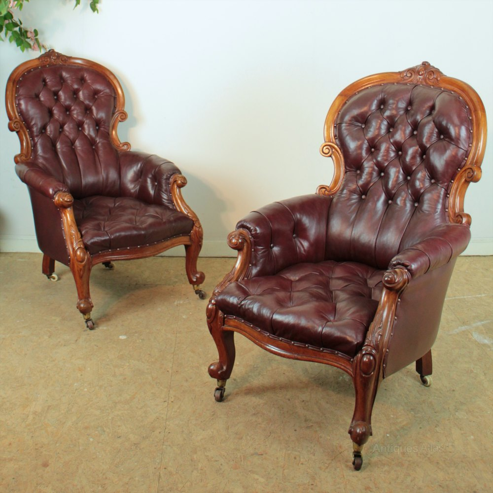 A Pair Of Victorian Mahogany Library Armchairs Antiques