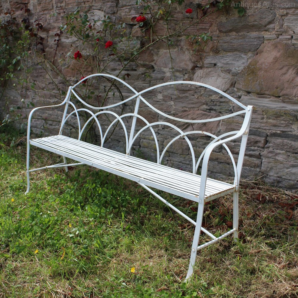 Antique Regency Wrought Iron Garden Seat Bench Benches