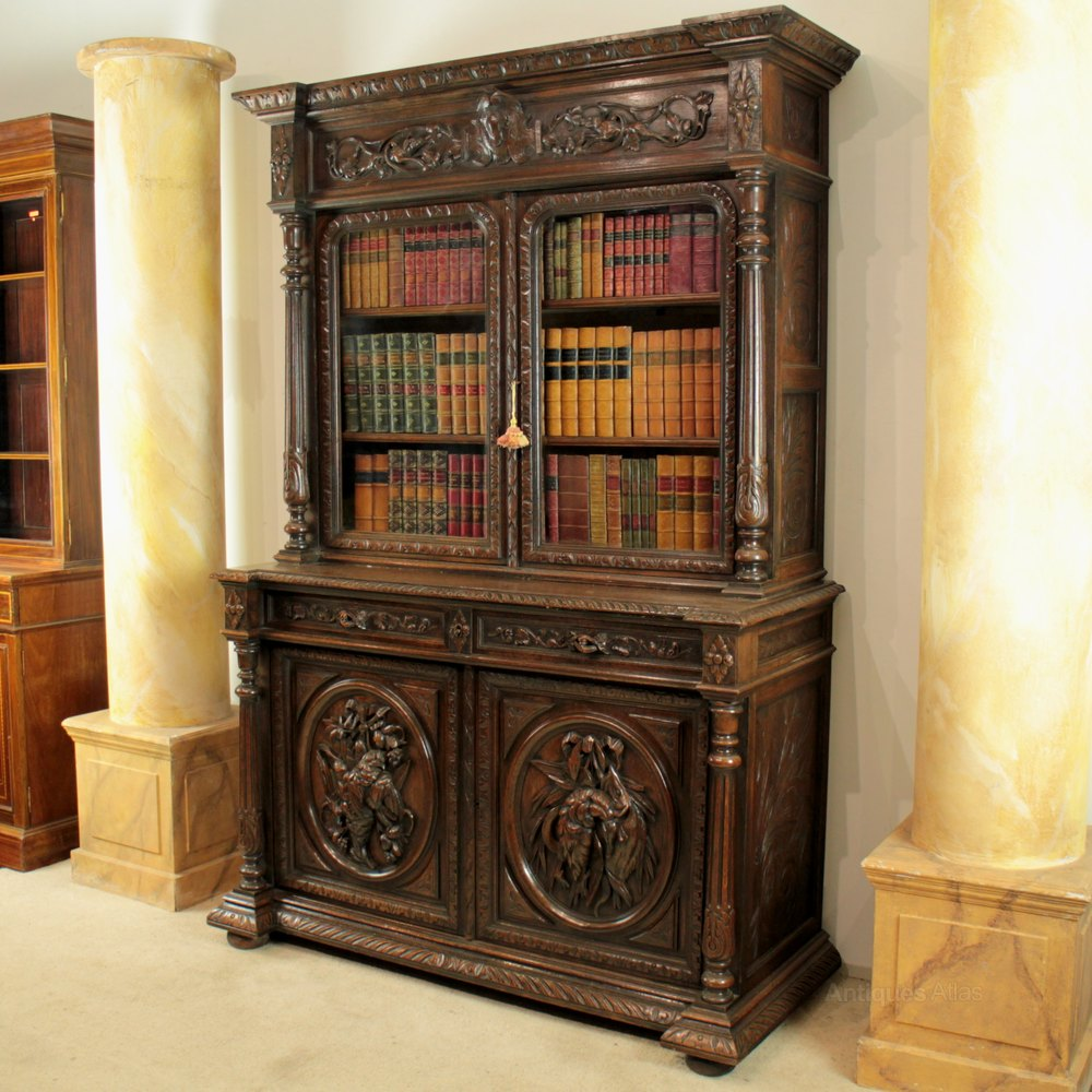 Antique Victorian Carved Oak Country Bookcase - Antiques Atlas