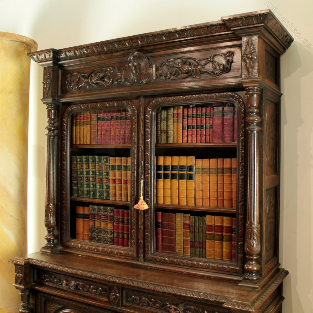 Antique Bookcase On Cupboard Victorian