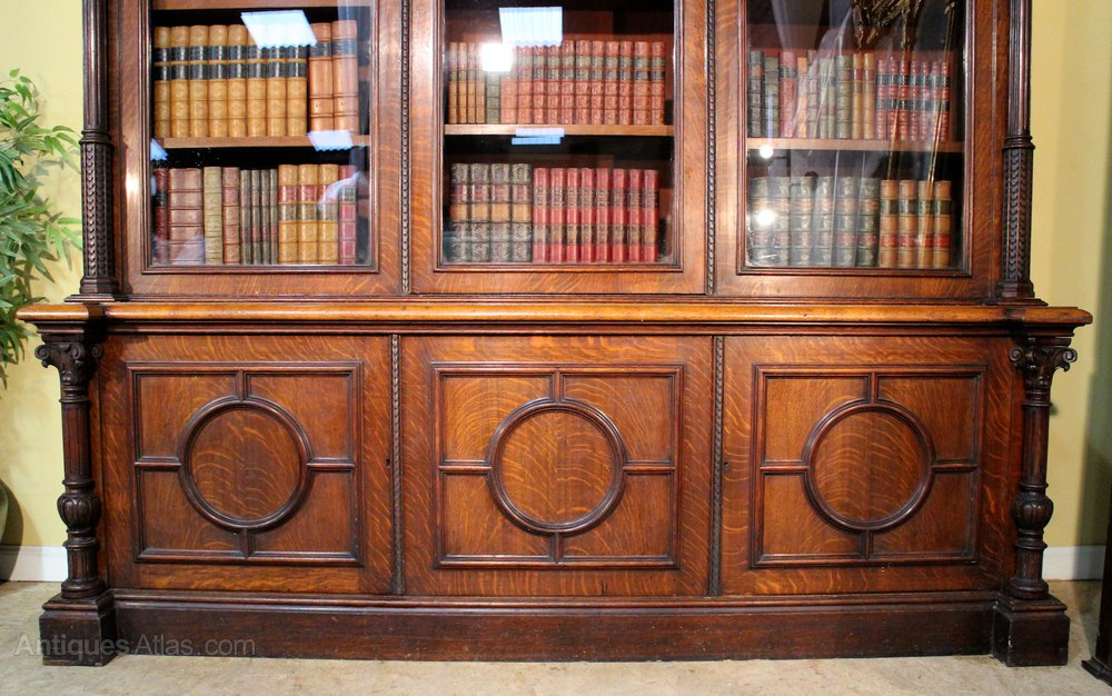 Antique Victorian Oak Library Bookcase Antiques Atlas