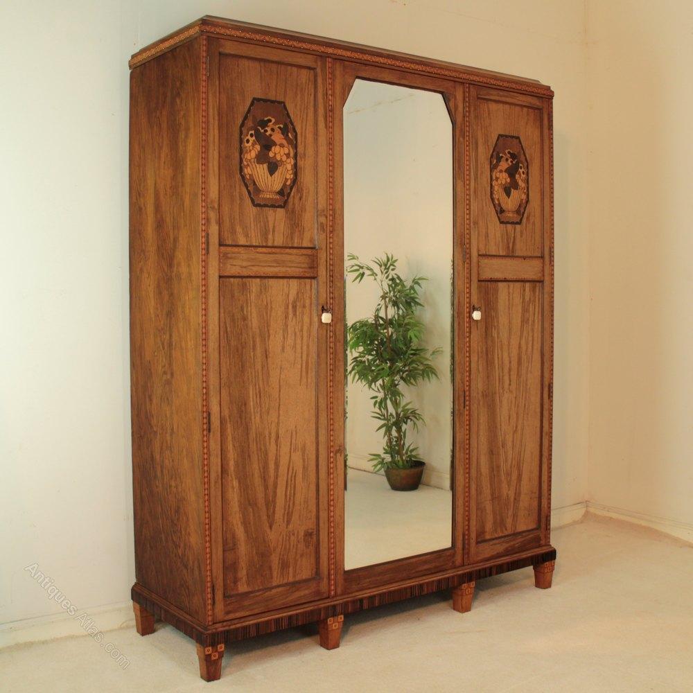 Art Deco Walnut Macassar Marquetry Wardrobe Antiques Atlas