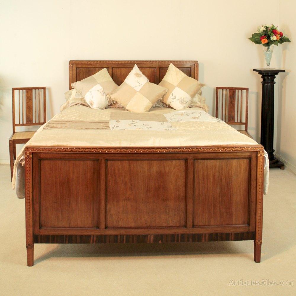Perfect Art Deco Walnut Macassar u Marquetry Double Bed