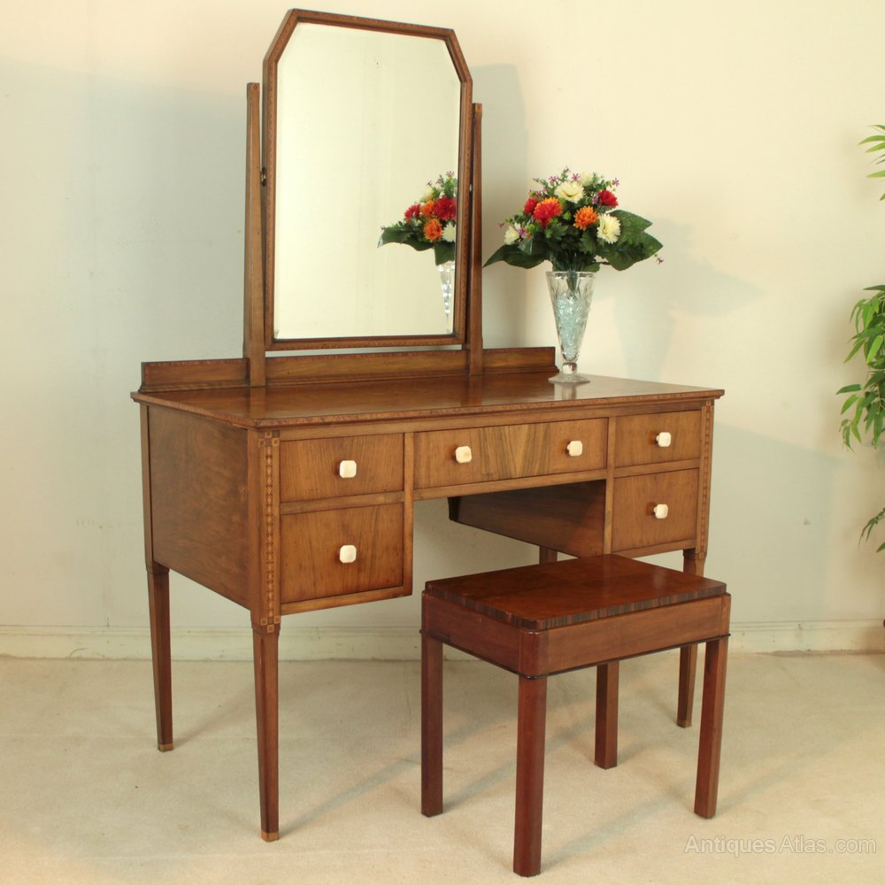 Art deco walnut marquetry dressing table stool for Walnut dressing table