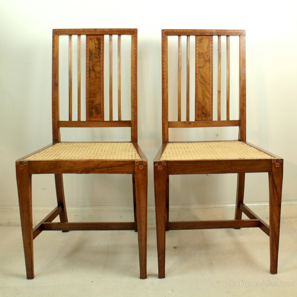 Art Deco Walnut Marquetry Pair Of Bedroom Chairs Antiques Atlas