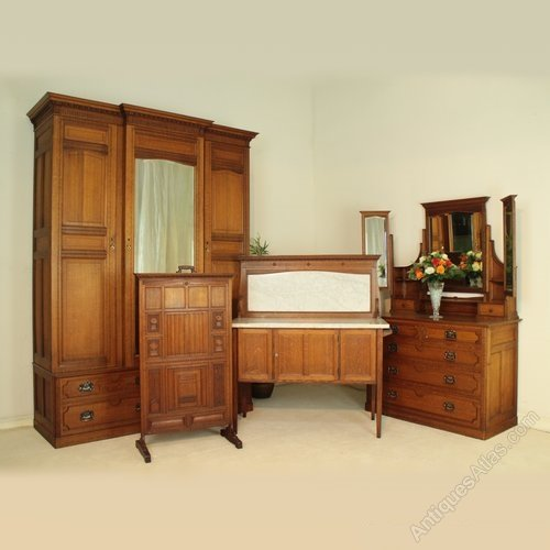 Arts & Crafts Oak Bedroom Suite, Maple & Co - Antiques Atlas
