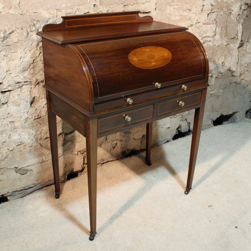 ... ANTIQUE CYLINDER TOP DESK Ladies bureau ... - Edwardian Mahogany Inlaid Cylinder Desk - Antiques Atlas